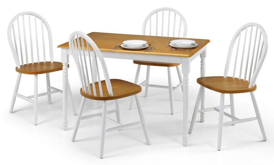 Oslo Dining Table and 4 Chairs Set - White and Oak