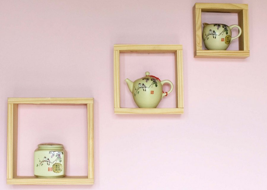 Set of 3 Pine Wall Cubes