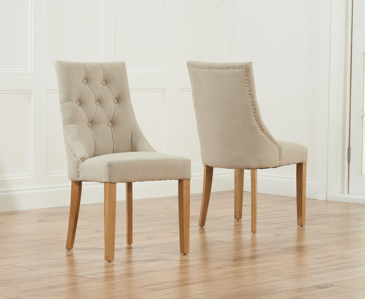 Pailin Scoop Back Fabric Dining Chairs - Pair