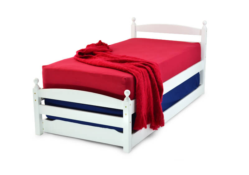 Palerno White Single Bed Frame with Pull Out Guest Bed