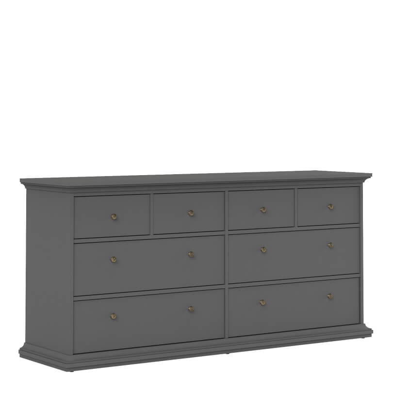 Paris Wide Chest of 8 Drawers in Matt Grey