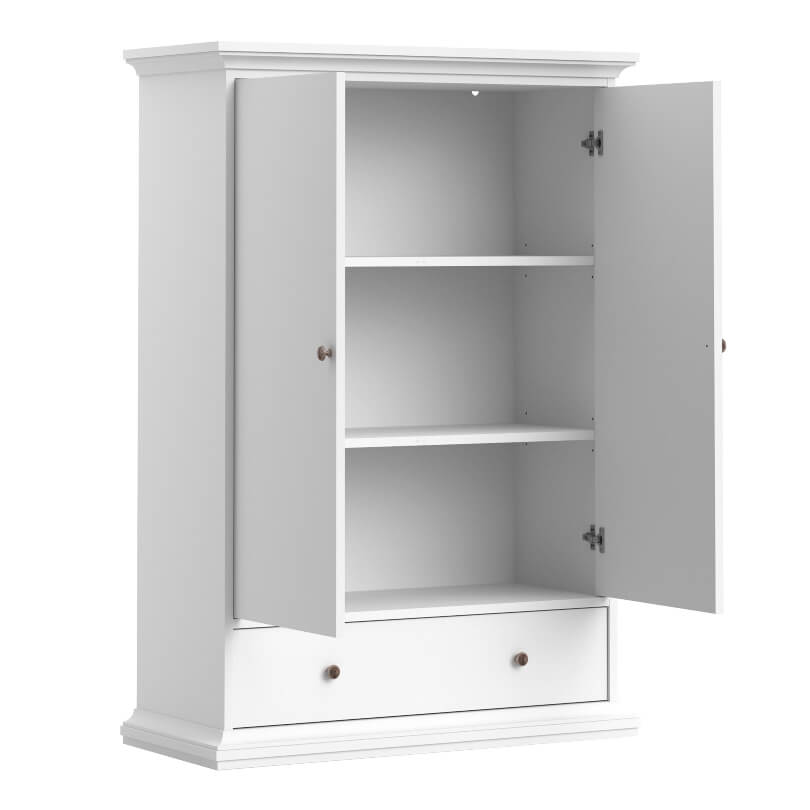 Paris Wardrobe with 2 Shelves & 1 Drawer in White