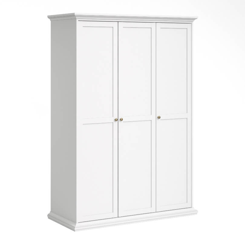 Paris Wardrobe with 3 Doors in White with Hanging Rail and Shelving