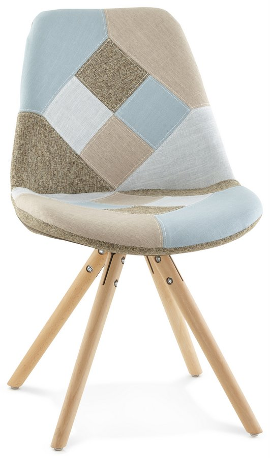 Patchwork Style Fabric Chair with Wooden Pyramid Legs