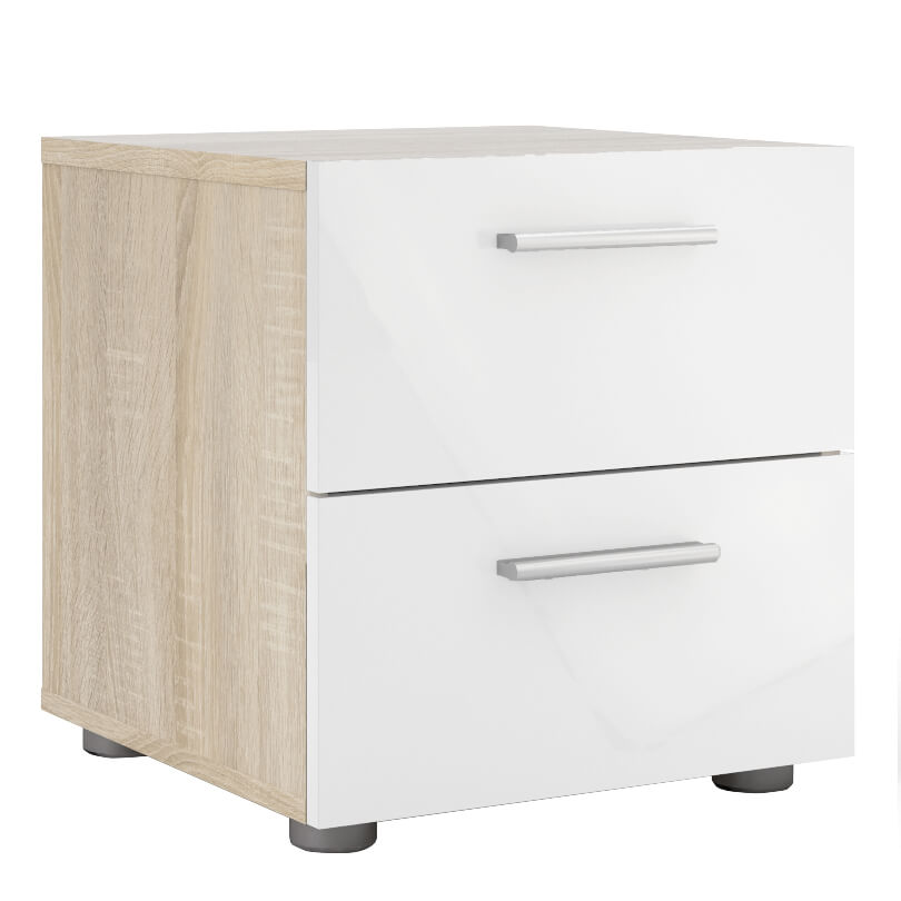 Pepe Bedside 2 Drawers in Oak with White High Gloss Fronts