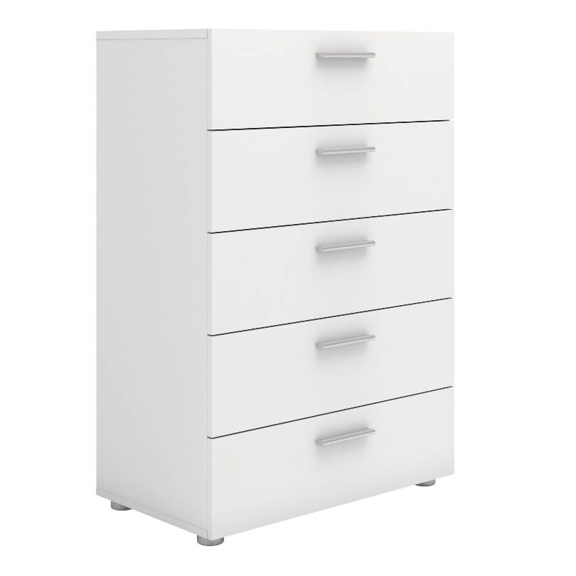 Pepe Chest of 5 Drawers in White