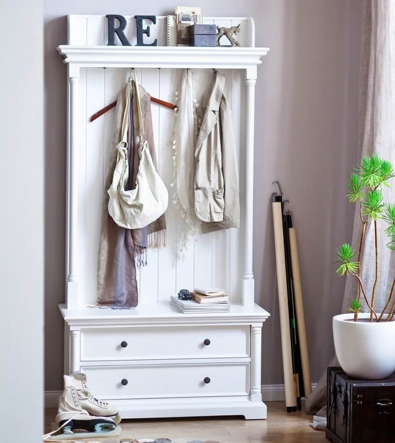 Provence White Hall Tree with Drawers