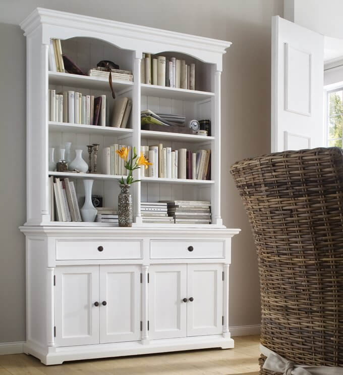 Provence White Tall Wide Hutch Cabinet