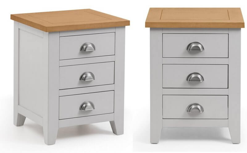Richmond Soft Grey & Oak 3 Drawer Bedside - Pair