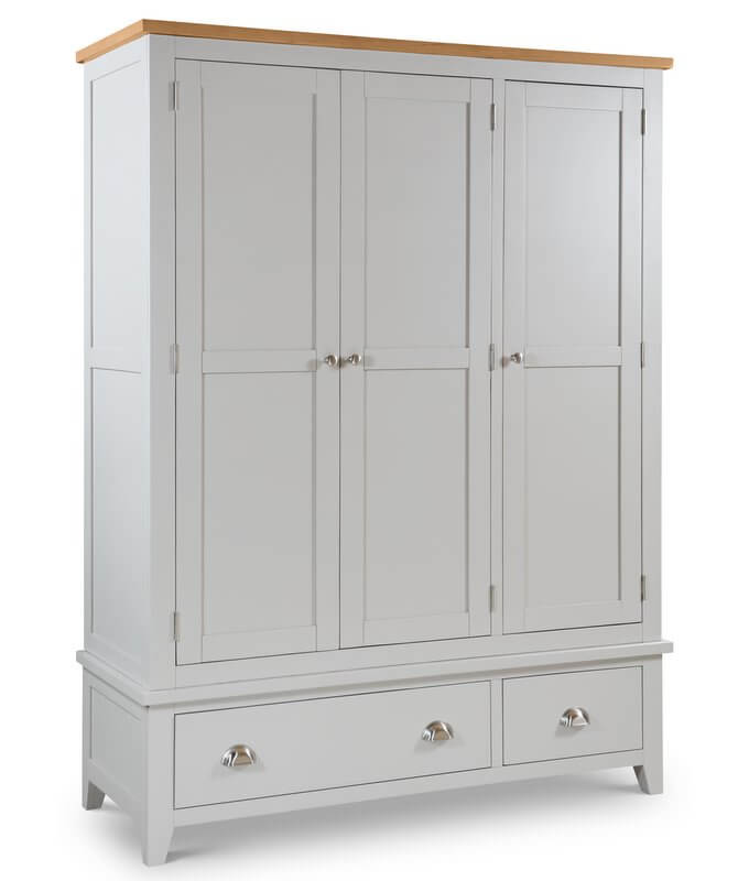 Richmond Soft Grey & Oak 3 Door Combination Wardrobe