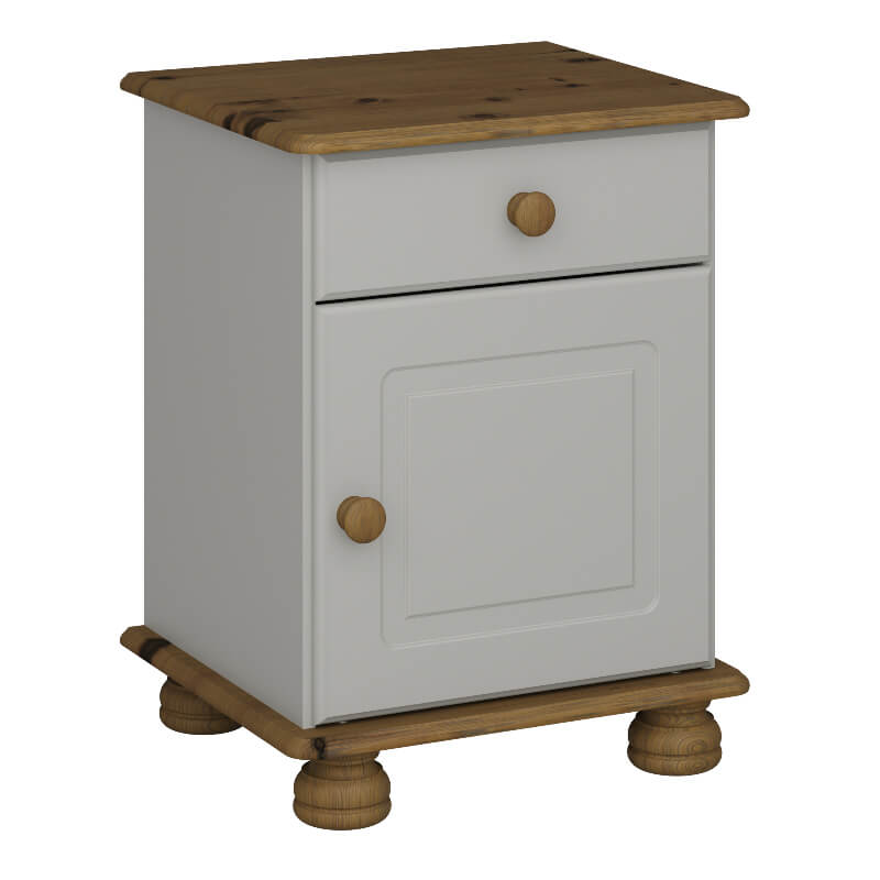 Richmond Grey and Pine 1 Door 1 Drawer Bedside