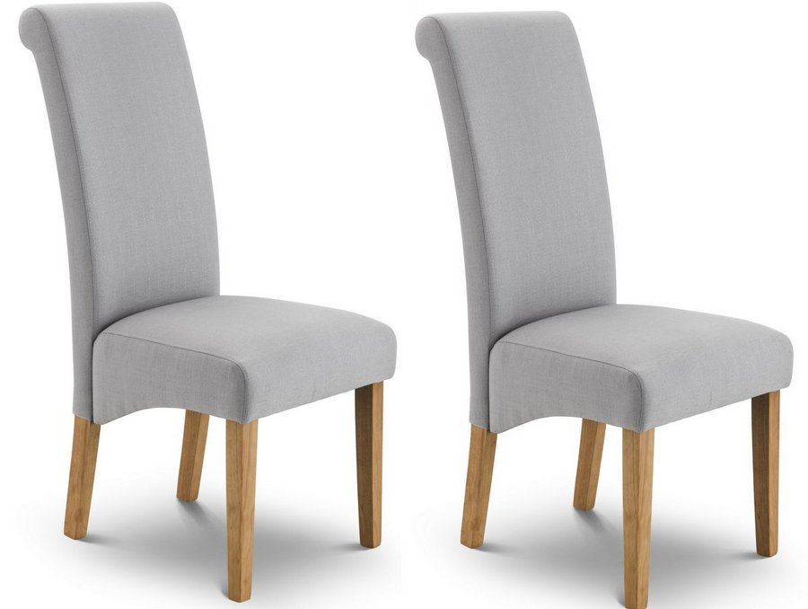 Rio Grey Fabric Scrollback Dining Chairs - Set