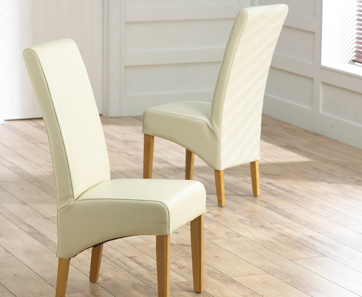 Roma Bycast Leather Dining Chairs with Oak Legs - Pair