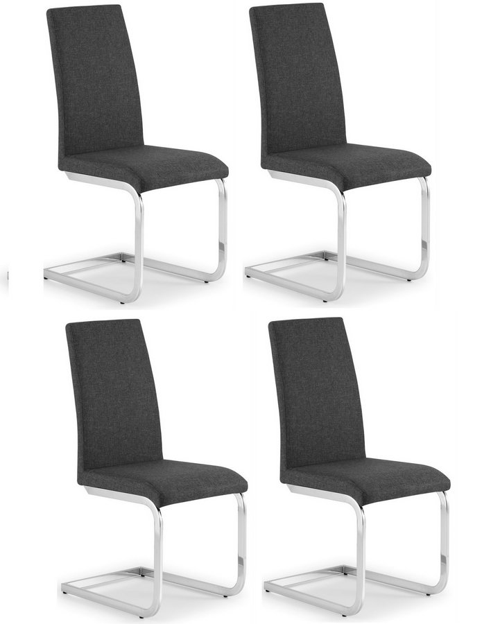 Roma Grey Fabric Cantilever Dining Chairs - Set of 4