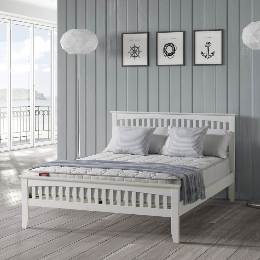 Sandhurst White Painted Wooden Bed Frame - King-Size