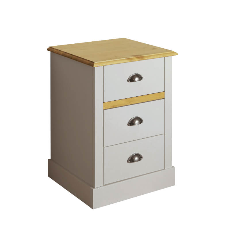 Sandringham Grey & Pine Three Drawer Bedside Table