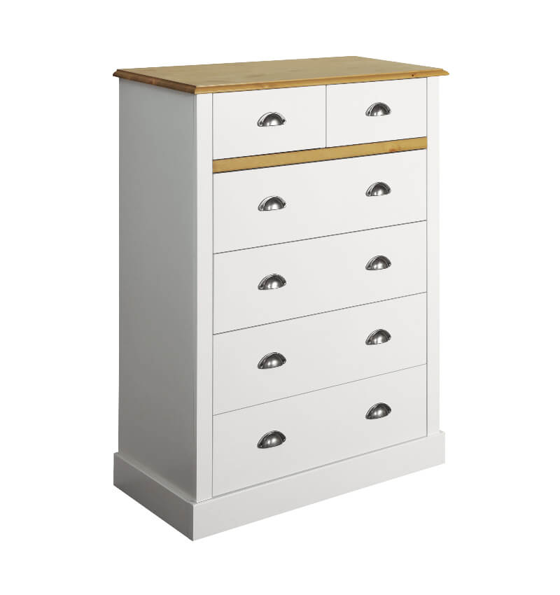 Sandringham White & Pine 2 + 4 Drawer Chest