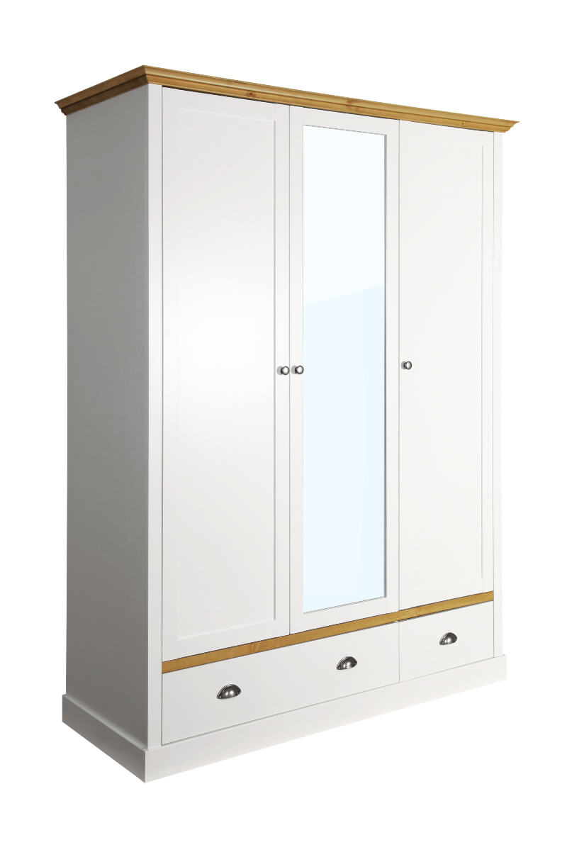 Sandringham White & Pine 3 Door 2 Drawer Wardrobe