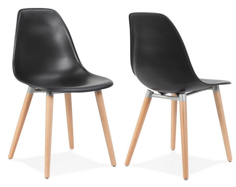 new product cbc66 e0f30 Scandi Style Modern Plastic Dining Chairs with Wooden Legs - Pair