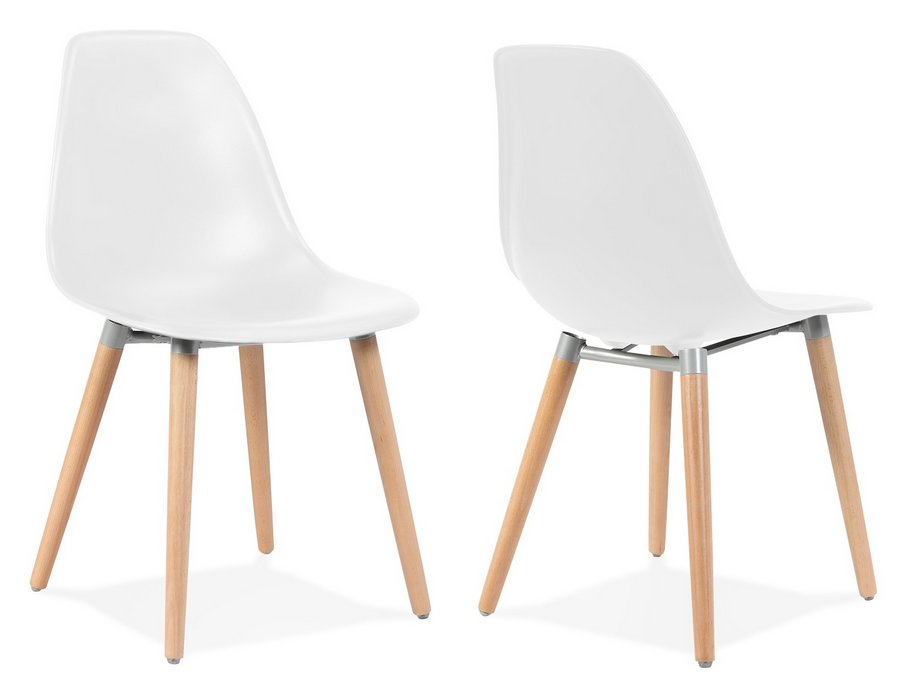 Scandi Style Modern Plastic Dining Chairs with Wooden Legs - Pair