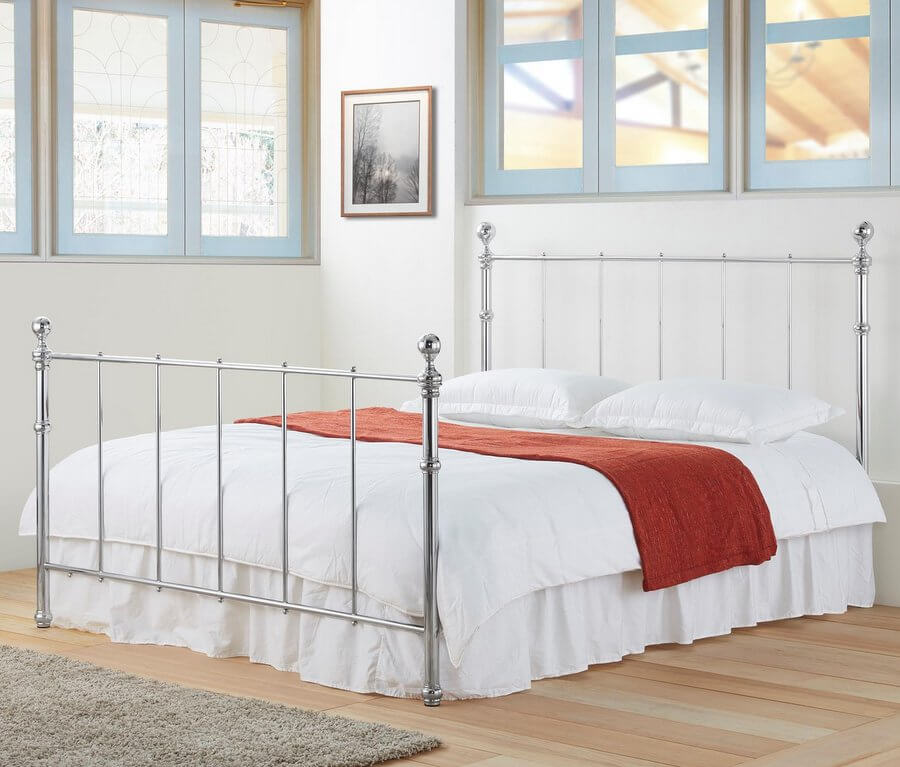 Seville Chrome Metal Bed Frame - Double