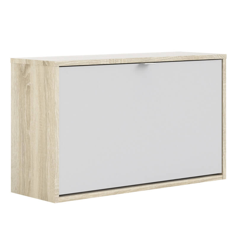 Shoes Wall Shoe Cabinet with Tilting Door and 2 Layers - Oak & White