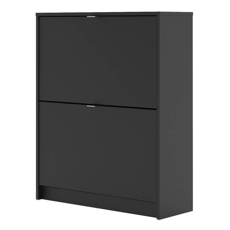 Shoes Shoe Cabinet with 2 Tilting & 2 Layers Doors in Black