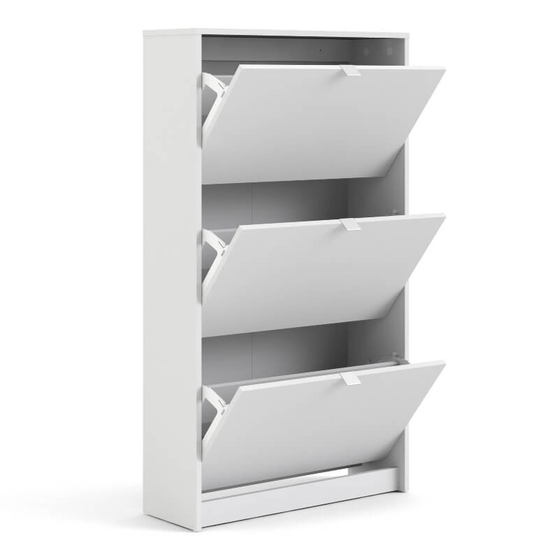 Shoes Shoe Cabinet with 3 Tilting Doors & 2 Layers White