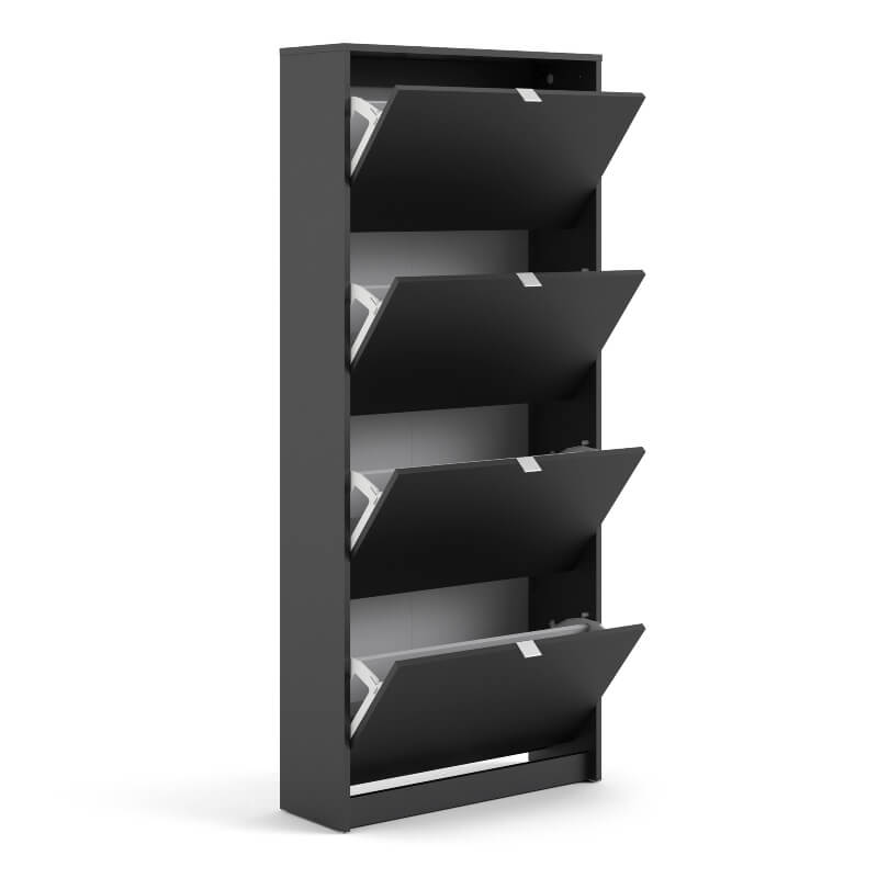 Shoes Shoe Cabinet with 4 Doors & 2 Layers Black