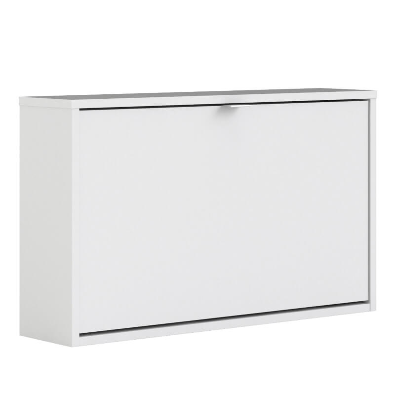 Shoes Wall Shoe Cabinet with Tilting Door - White