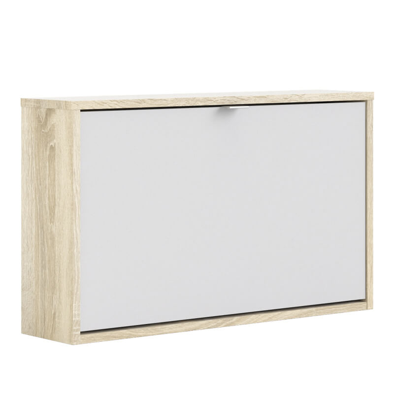 Shoes Wall Shoe Cabinet with Tilting Door - Oak & White