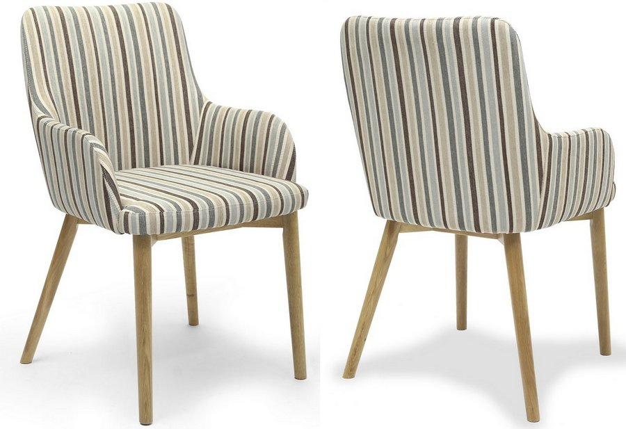 Sidcup Duck Egg Blue Stripe Dining Chairs - Pair