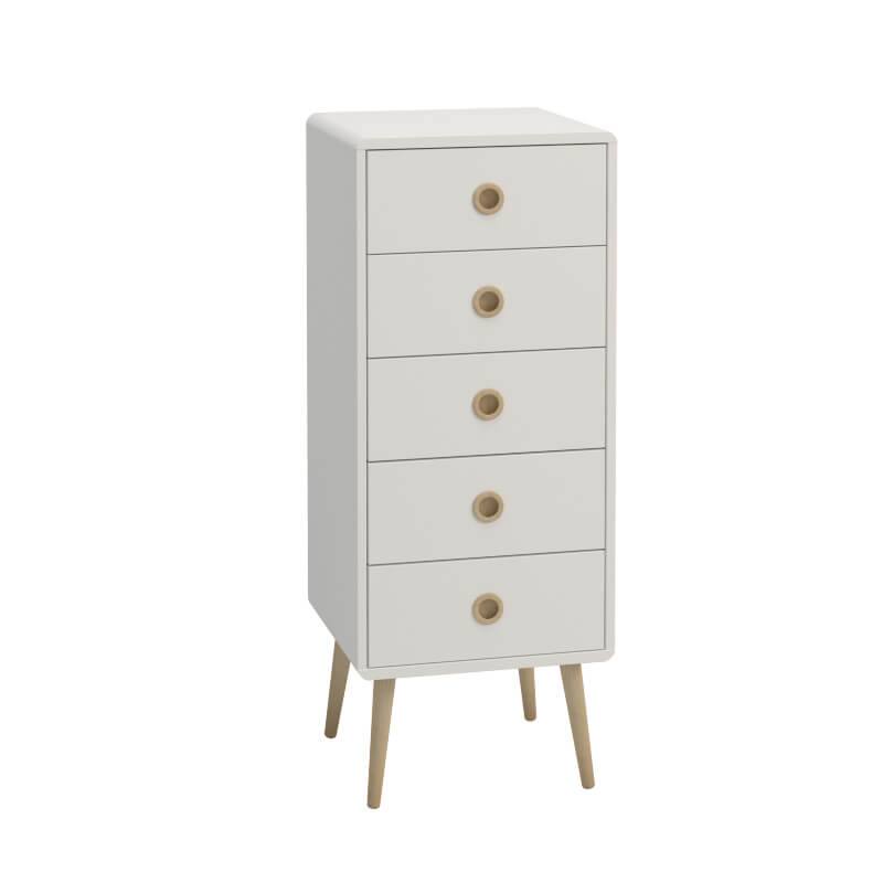 Softline White 5 Drawer Narrow Chest