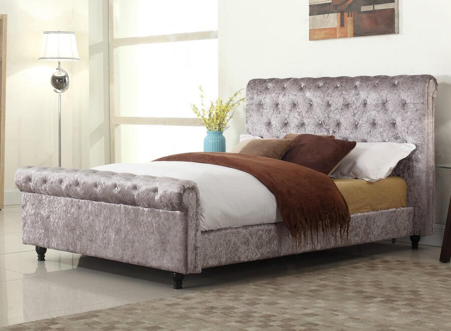 Stella Pewter Bed Frame -  Double