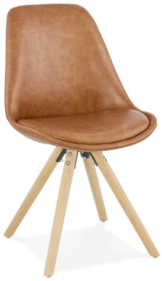 Steve Brown Faux Leather Dining Chair with Pyramid Legs