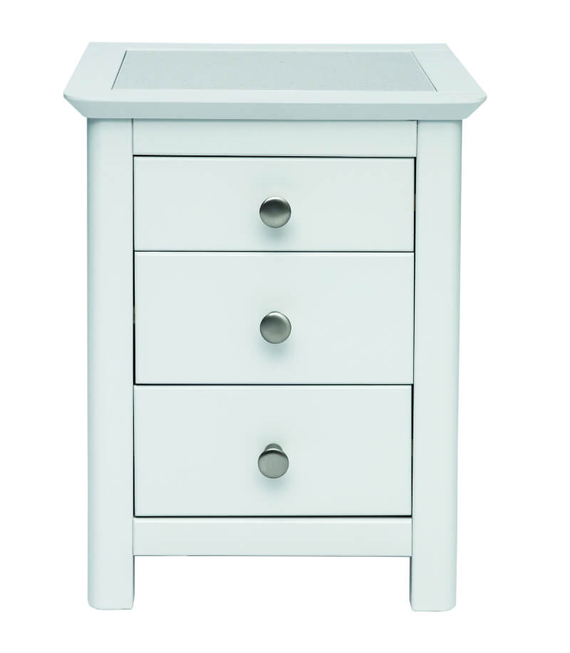Stirling 3 Drawer White Bedside Cabinet with Stone Inlay Top