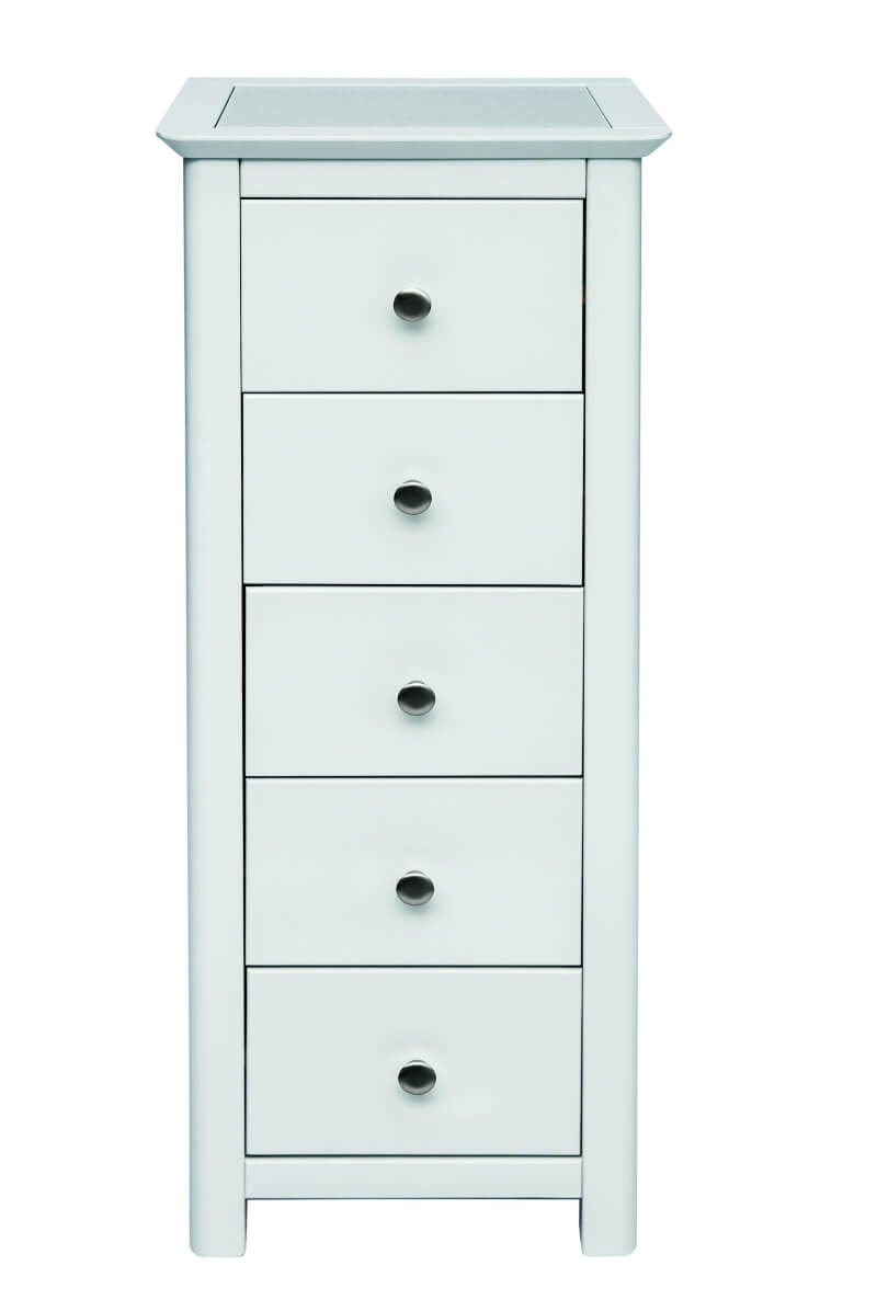 Stirling 5 Drawer White Narrow Chest with Stone Inlay Top