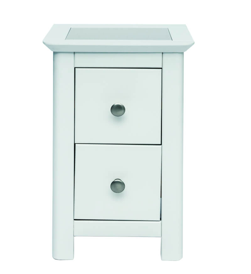 Stirling 2 Drawer Petite White Bedside Cabinet with Stone Inlay Top