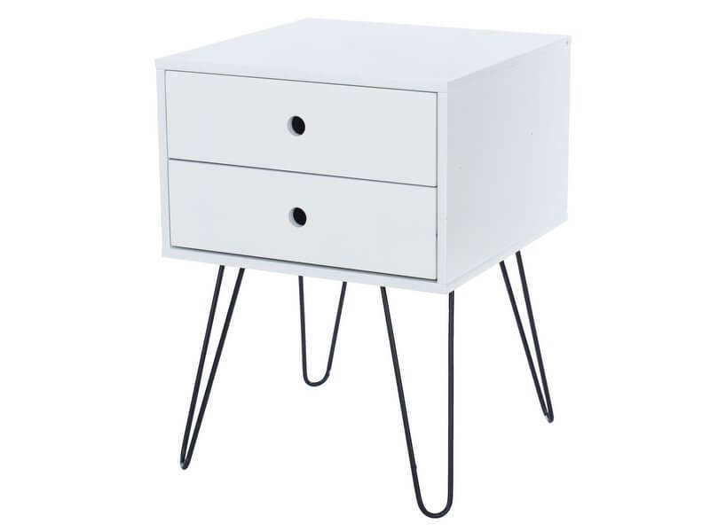Telford White 2 Drawer Bedside Cabinet with Metal Legs