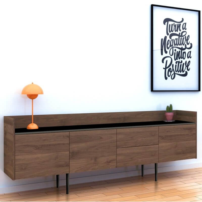 quality design 88b5e 9b538 Unit Sideboard 2 Drawers 3 Doors in Walnut and Black