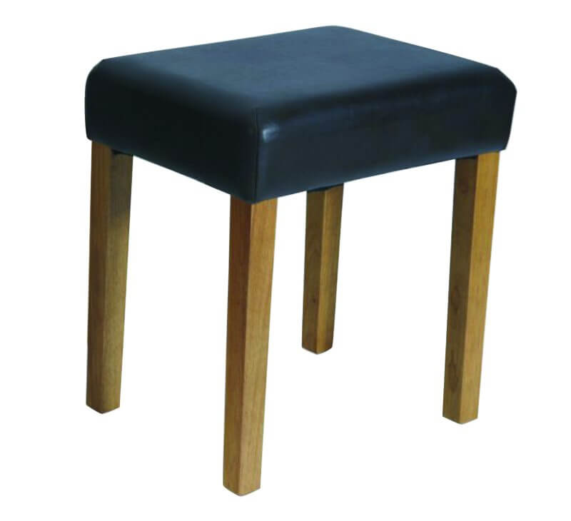 Brown Faux Leather Dressing Table Stool with Wooden Legs