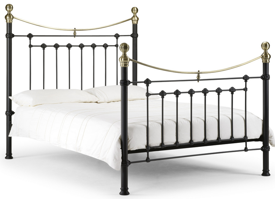 Victoria Satin Black & Brass - Double Bed Frame