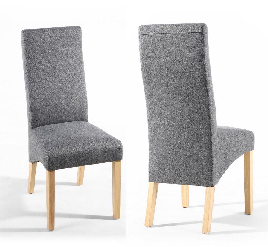Wave Back Steel Grey Upholstered Dining Chairs - Pair