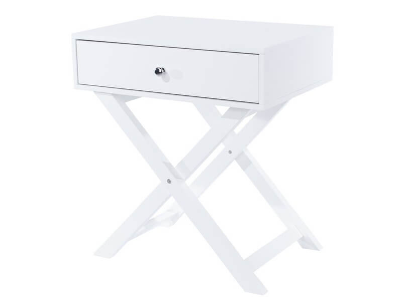 X Leg White 1 Drawer Petite Bedside Table