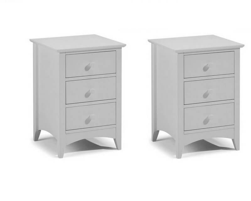 Cameo Dove Grey 3 Drawer Bedside Tables - Pair