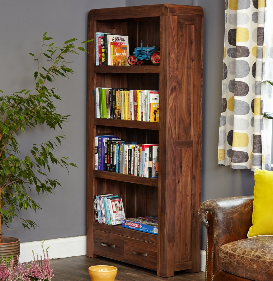 Shiro Walnut Large Bookcase with Two Drawers